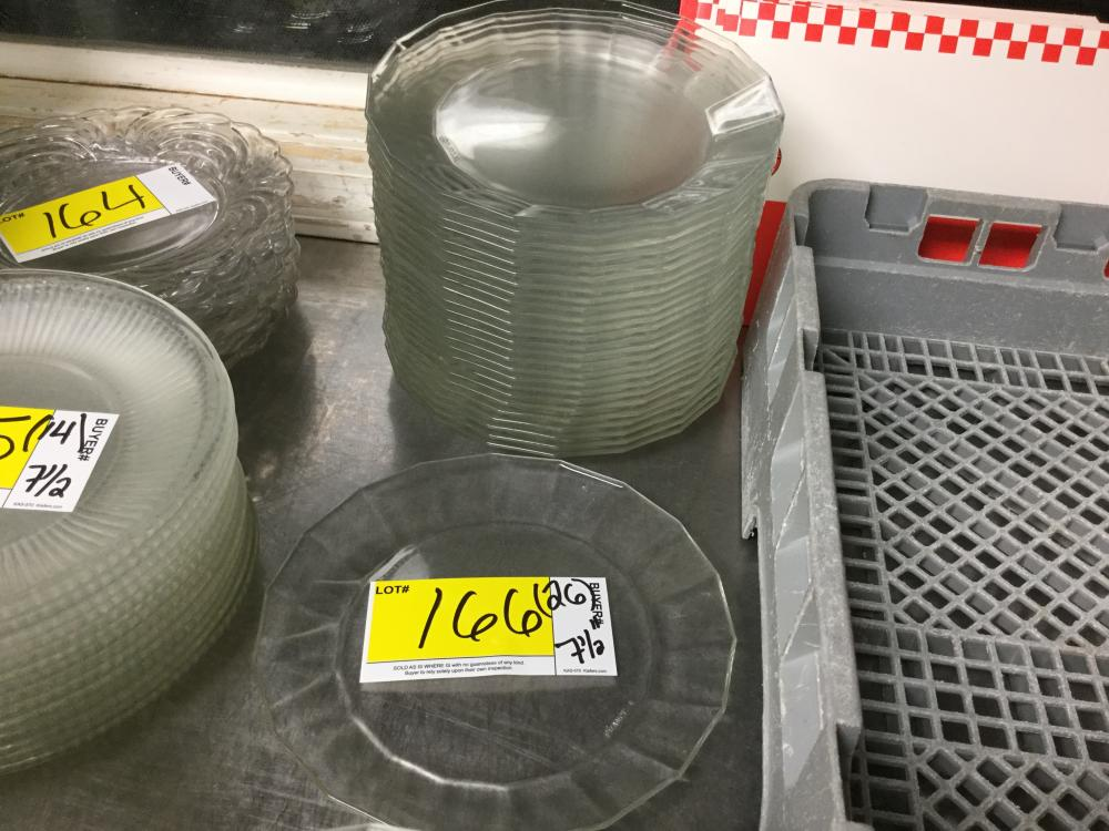 26 count 7 1/2 clear glass salad plates- marked arcoroc