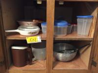 Metal bowl, Strainer, Storage Containers, small Tupperware pitcher, Plastic measuring cup and more!