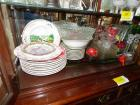Misc. glass bowls, Christmas plates, etc.