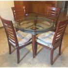 Retro Kitchen Table with Glass Top & 4 Chairs
