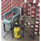 3 Outdoor Stacking Chairs, Lawn Sprayer, & 2 Step Ladders