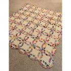 "Vintage Double Ring Hand Stitched Quilt- 70"" x 75""- 1953, Livingston, TN"