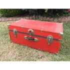 "Bright Red Wooden Vintage Trunk w/ Metal Trim & Hardware- 12"" height, 16"" depth, 30"" length"