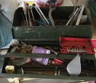 Vintage Military Olive Drab Metal Toolbox & Contents- Line Level, Wrenches, & More!