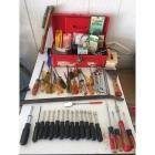 Red Toolbox w/ Screwdrivers, Wrenches, Bits, & More!