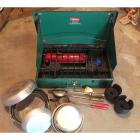 Coleman Portable Camp Stove, 2 Aluminum Campfire Cookers, Radar Nesting Aluminum Cookware, & 2 Size Adapting Cupholders