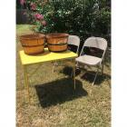2 Like-New Folding Chairs, Vintage Metal Table, & 2 Apple Baskets
