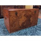 "1908 Antique Flemish Art Pyrography Chest- Dovetail Construction- 27"" width, 16.5"" depth, 16"" height-"