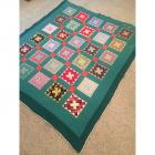 "Vintage Hand Stitched Quilt with Green Border- 86"" x 73"""
