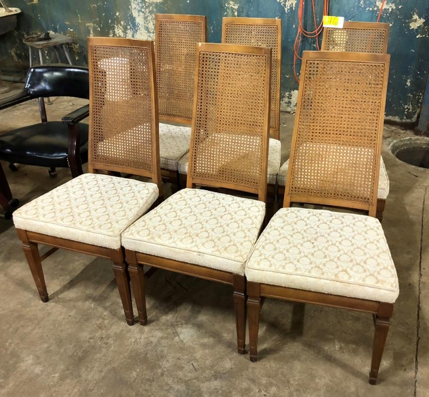 Lot 46 Of 337: 6 Mid Century Dining Chairs With Cane Woven Backs