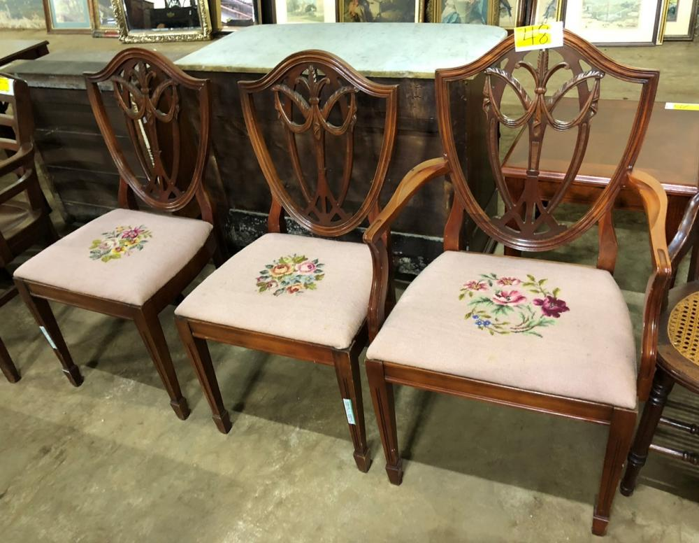 Lot 48 Of 340 Duncan Phyfe Dining Chairs With Beautiful Needle Point Bottoms
