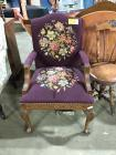 Plum Happy Vintage Needlepoint Library Chair