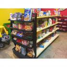 Grocery Store Aisle Shelf Packed with Play Food Containers- Detachable Black Endcap Rack Included- See description for measurements