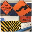 "3 GIANT Road Signs, Highway Arrow Stencils, & Interactive Lock Wall Hanging- Signs are 65"" tall!"