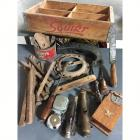 Wooden Squirt Soda Box Filled with Great Vintage Tools
