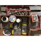 Large Assortment of Nails & Other Carpentey Items + Red MetalTool Carrier