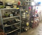8 Shelves, Cookware, Plates, Cups, Coffee Cups, Figurines, Lots of Misc., Planters, Books, & Toys